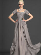 Short Sleeve A-Line Chiffon Mother of the Bride Groom Dress Evening Dress Custom