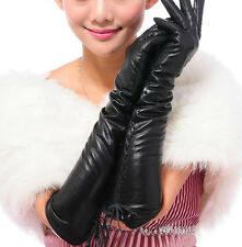 Fashion New sexy Black 46cm Long Genuine Lamb Leather Gloves S M L