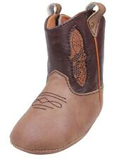 Boys Two Tone Infant Baby Country Western Boots Velcro with Faux Snake Accents