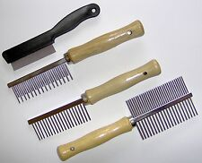 Dog Cat Wood or Plastic Handle Comb Moulting, Grooming or Flea Combs Various