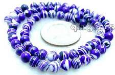 "6mm Purple Round Zebra Stripe Agate Beads for Jewelry Making Strands 15""-los566"