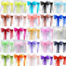 "8""x108"" Wedding Party Banquet Chair Organza Sash Bow Decorations COLORS"