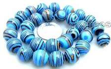 "SALE Big 14mm Blue Round peacock stripe agate beads strands 15"" -los568"