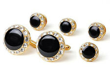 Crystal Bordered Tuxedo Cufflinks and Studs Gold,  Silver and Red