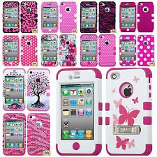 For iPhone 4 4G 4S - Hard & Soft Rubber Hybrid Armor Skin Case Cover PINK LOVER