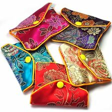 "Silk Jewelry Chinese Pouch Bag Roll Assorted ONE DOZEN Zipper 3"" x 2.5"""