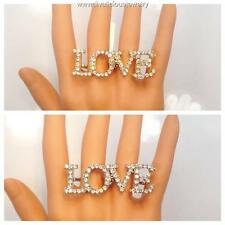 Crystal Love Statement Two Finger Bling Diva Ring - Gold or Silver