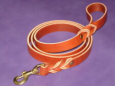 "1"" wide Braided Bridle Leather Dog Training Leash (Avail 6 ft, 4 ft or 2 ft)"