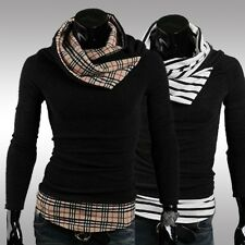 Men Slim Fit Grid Stripe High Collar Warm Turtleneck Sweaters Knitwear Hooded