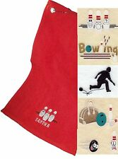 Personalised Ten Pin Bowling Towel With A Choice Of Designs ~ In 7 Colours