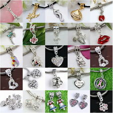 Various Alloy Heart Crystal Charm European Beads Charms Dangle Fit Bracelet New