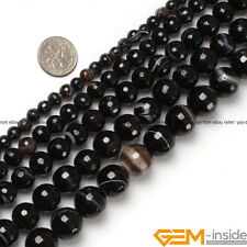 Natural Black Stripe Agate Gemstone Faceted Round Beads For Jewelry Making 15""