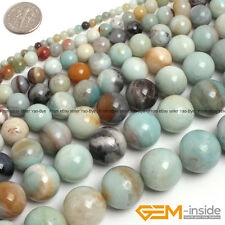 Natural Colorful Amazonite Gemstone Round Beads For Jewelry Making String 15""