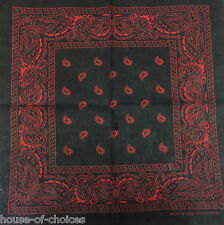 Black Red Paisley Bandana Bandanna Headwear Bands Scarf Neck Wrist Wrap Headtie