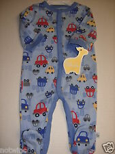 First Moments Infant Baby Boy's Sleeper Pajamas Blue with Multi Car 3M 6M 9M NWT