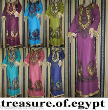 Egypt Islamic Handmade glossy Cotton Abaya embroidery Inlaid beads Kaftan jilbab