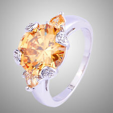 Noble Oval Cut Morganite Gemstones Silver Ring Size 6 7 8 9 10 11 Free Shipping