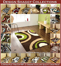 SMALL MEDIUM LARGE EXTRA LARGE BROWN GREEN BLUE RED BLACK 5CM SHAGGY CARPET RUGS