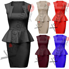 WOMENS LADIES SQUARE NECK PEPLUM FRILL DRESS BODYCON PENCIL SKIRT DRESSES TOPS