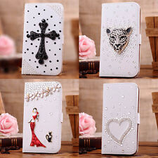 For Lg Optimus G2 At&t T-mobile Sprint 3D Bling crystal Leather Fold Wallet Case