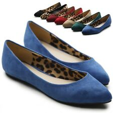 ollio Womens Ballet Comfort Light Faux Suede Multi Colored Shoes Flats