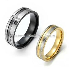 Love CZ Gem Black Golden Stainless Steel Couple Wedding Bands Promise Ring Gifts