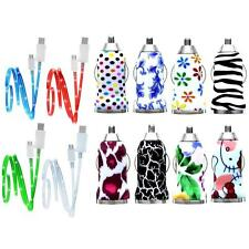 2in1 DESiGNER MiCRO USB CAR CHARGER ADAPTOR LED DATA CABLE for GR500 and more