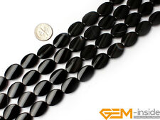 Natural Gemstone Black Agate Twist Oval Beads For Jewelry Making Strand 15""