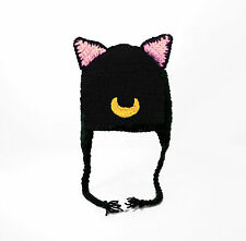 Sailor Moon Cat Earflap Hat, Luna, Artemis, Diana Crochet Beanie baby-adult