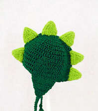 Dinosaur Earflap Hat, Green Dino Knit / Crochet Beanie any size baby - adult