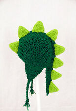 Dinosaur Earflap Hat with Tail, Knit / Crochet Beanie any size baby - adult