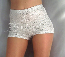 MADAME FANTASY SEXY WHITE HIGH WAISTED SEQUIN SHORTS HOT PANTS XS-XXXL