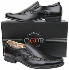 Mens New Black Slip On Leather Lined Formal Fashion Dress Shoes Free UK Shipping