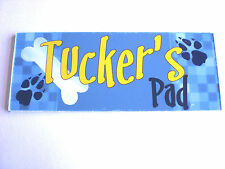 Blue or Purple Dog personalised name PLAQUE SIGN Kennel House Shed Bone gift