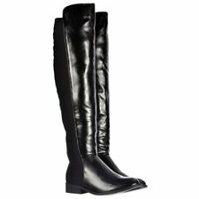 LADIES WOMENS EXTRA WIDE CALF OVER THE KNEE HIGH STRETCH LYCRA RIDING BOOT BLACK