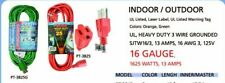 INDOOR / OUTDOOR EXTENSION CORD 18ft, 25ft, 50ft ul listed / 16 GAUGE