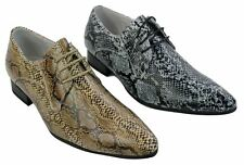 Mens Brown Tan Black Snake Skin Leather Laced Shoes Patent Smart Casual