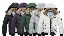 Men's Fur collar Cotton Padded Winter Coat Fashion Parka Overcoat jacket 7 COLOR