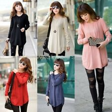 Women Crew Neck Long Sleeve Solid Color Pullover Loose Sweater Knitwear  IUK