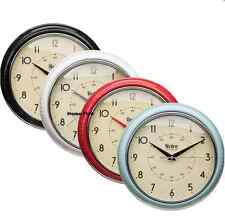 NEW LARGE ROUND KITCHEN WALL SHABBY CHIC RETRO VINTAGE CLOCK RED BLACK CHROME