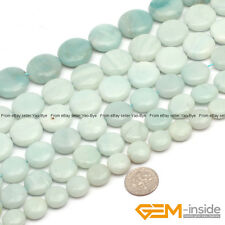"""Natural Stone Amazonite Coin Flat Beads For Jewelry Making 15"""" 12mm 14mm 16mm"""