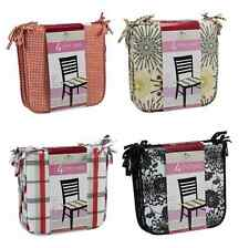 SET OF 4 CHAIR PADS CUSHIONS Comes With Corner Ties - 4 Colors Available