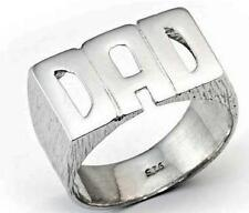 925 STERLING SILVER DAD HEAVY BARKED SHOULDER RHODIUM PLATED RING GIFT FATHER