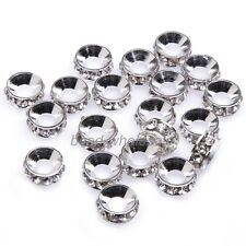 20pcs Shiny Silver/Golden Big Hole Rhinestone Crystal Spacer Beads