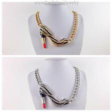 Crystal Lipstick Stiletto Zebra Makeup Diva Bling Necklace - Gold or Silver