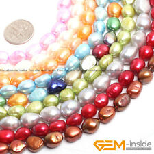 """Colorful Freeform Freshwater Pearl Rice Beads For Jewelry Making 14"""" 8-9x10-11mm"""