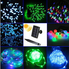 100/200 LED Fairy Solar String Rope Twinkle Light Party Wedding Xmas Decor Lamps