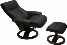 Black Leather Hjellegjerde ScanSit 110 Ergonomic Lounge Recliner Chair +Ottoman