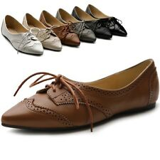 ollio Womens Ballet Pointed Toe Flats Lace Up Shoes Oxford