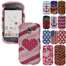 For SAMSUNG GALAXY EXHIBIT T599 Cover Bling Diamond Gem Hard Snap On Case